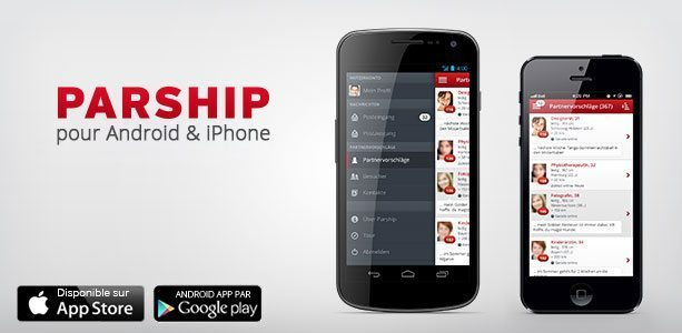 Parship sur mobile iphone et android