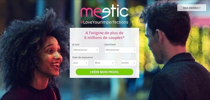 Page d'inscription du site de rencontre Meetic en France.