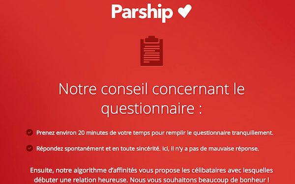 Parship donne ses conseils quant à la manière de répondre au questionnaire affinitaire.