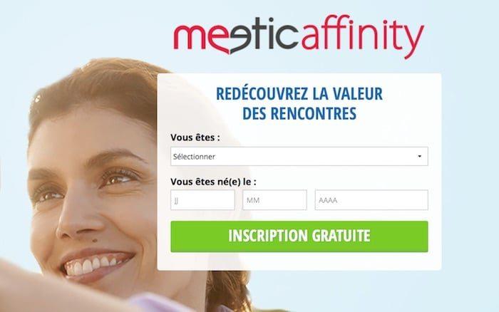 Page d'accueil du site Meetic Affinity.