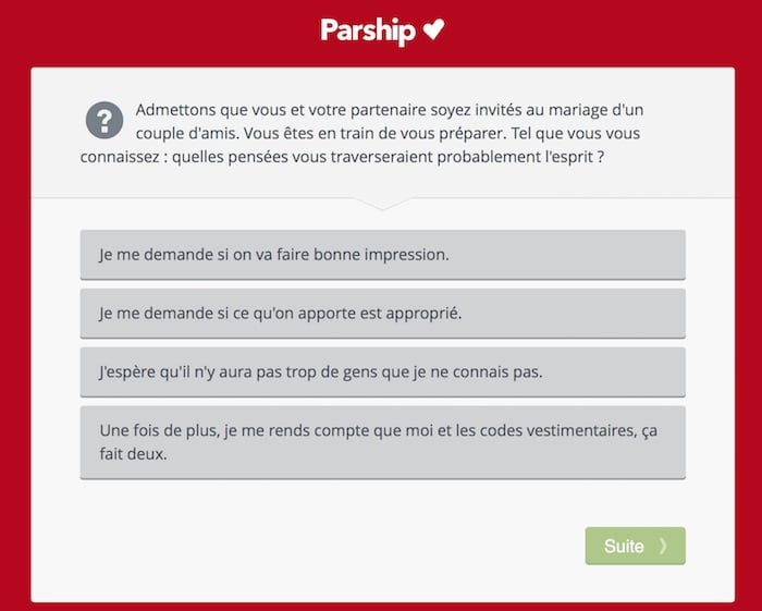 Exemple de question de mise en situation du test de personnalité Parship.